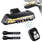 Fahrrad Blinker Rücklicht, [2021 Neuestes Modell] Fahrradrücklicht mit Kabellos Fernbedienung,Wasserdicht Fahrrad Rücklicht USB Aufladbar, 8 Leuchtmodi, für Fahrrad MTB