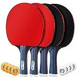 Glymnis Tischtennis Schläger, 4 Tischtennisschläger + 8 Bälle, Tischtennis Set mit 2 Tasche