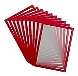 Tarifold Es 195233 Magneto Pro 10 magnetischer Informationsrahmen A4, für Dokumente, Hinweise, Schilder, Austausch und schnelles Einsetzen - magnetische Rückseite aus Metallflächen, rot, 10 Stück