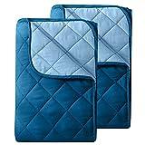 2 Stück Microfaser Sommer Steppbett im Wende-Design 135x200 OekoTex – dunkelblau und blau Kochfest 95° Sommerbettdecke Leichtsteppbett I ohne Bezug verwendbar I 2er Set