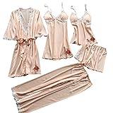 ZGNB 5PC Schlafanzug Damen Pyjama Set Mode Dessous Unterwäsche Babydoll Nachtwäsche Kleid Rückenfrei Zweiteilige Nachthemd Schlafanzüge Negligee Wäsche Set