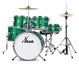 XDrum Junior Pro Kinder Schlagzeug Emerald Green Sparkle - geeignet von 5-9 Jahren - Drumset mit komplettem Zubehör - inkl. Schule mit DVD - grün