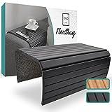 D&D Living® Sofatablett - Couch Ablage flexibel für Armlehne aus natürlichem Holz   Tablett für Sofa mit 50x35 cm, schwarz