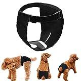 LeerKing Läufigkeitshose 3er Pack Höschen Hundehose weibchen läufig Hündinnen mit Damenbinde für die Monatsblutung waschbar Schutzhöschen Hundewindeln Schwarz L