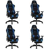 4X Bürostuhl Drehstuhl Konferenzstuhl Turbo LED mit Fußablage Stoff schwarz/b