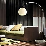 CCLIFE LED E27 Bogenlampe höhenverstellbar Marmorfuß weiß orange Stehlampe Stehleuchte Standleuchte Bogenleuchte Bogenstandleuchte, Farbe:Weiss, höhenverstellbar 130-180