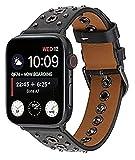 Metallbänder kompatibel mit Apple Watch 38 mm 40 mm 42 mm 44 mm Edelstahlarmband Ersatzarmband Armband Sport weich atmungsaktiv für iWatch Serie 6/SE/5/4/3/2/1 für Damen Herren Mädchen Jungen, schwarz
