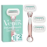 Gillette Venus Deluxe Smooth Sensitive Rasierer Damen, Damenrasierer + 3 Rasierklingen mit 5-fach Klinge, RoseGold