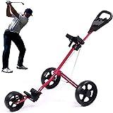GPWDSN Golf Trolley Leichter Faltbarer Golfwagen 3-Rad Golf Push Cart mit verstellbarem Push-Griff Fußbremse und Scorecard Compact Pull Caddy Cart Leicht zu öffnen (rot)