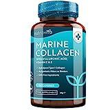 Marine Kollagen und Hyaluronsäure Komplex 1150mg – NACHHALTIGER FISCHFANG – Hydrolysiertes Kollagen vom Typ I – Laborgetestet – 90 Kapseln – Angereichert mit Vitamin C, E, B2, Zink, Kupfer und Jod