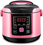 JWCN Mini-Reiskocher (2L / 300 W) Multi-Kocher mit 10 Funktionen Non-Stick-Innentopf-Timer und halten Sie warme Funktion - Reis für bis zu 3 Personen-Rosa Up