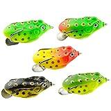 bulingbuling Künstliche Fischköder Frosch Fischköder Donner Frosch-Form-Angel-zubehör Gummifisch-Fischerei-gerät 5 Stück
