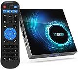 Android 10.0 TV Box T95 4GB RAM 32 ROM Allwinner H616 Quad-Core 64-Bit ARM Cortex-A53 Android Box mit 2.4G WiFi 10/100M Ethernet, unterstützt H.265/3D/6K Ultra HD/BT 5.0/HDMI 2.0 Smart TV Box