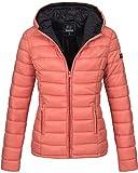 Marikoo Damen Jacke Steppjacke Herbst Winter Übergangsjacke gesteppt B651 [B651-Luc-Coral-Gr.S]