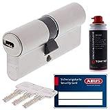 ToniTec Set aus ABUS Profilzylinder Schließzylinder EC660 Zylinderschloss mit 3 Schlüssel Größe 35 35 + ToniTec Pflegespray