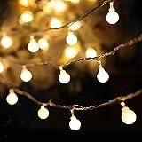 LED Lichterkette Außen, BIGHOUSE 5M 50 LEDs Warmweiße Lichterkette Aussen mit Stecker, 8 Modi, Wasserdichte IP44, Kugel Lichterkette für Innen Dekoration, Feste, Garten, Balkons, Partys, H