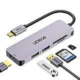 uoeos USB C Hub, Multiport USB C Adapter, 5 in 1 USB C auf HDMI Adapter mit USB 3.0 und 2.0 Ports, SD & TF Kartenles, Kompatibel für MacBook Pro, Surface Pro/Go, Google Chromebook, Pixelbook usw