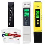 PH Messgerät TDS EC PH Temperatur 4 in 1 Set, Wassertester mit LCD Display, tragbarer TDS-Messgerät für Trinkwasser, Schwimmbad und mehr