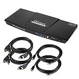 TESmart HDMI KVM Switch 4 Port 4K@60Hz 4:4:4 Ultra HD 4 PC 1 Monitore mit zusätzlichem USB 2.0 Port&L/R Audio-Ausgang Steuert bis zu 4 PCs/Server/DVR Enthält 2 Stück 1,5 m KVM-Kabel-Mattschw