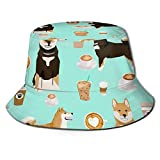 Jupsero Hut Shiba Inu Kaffeedruck Hund Sonnenmütze Outdoor Hut UV Sonnenschutz Eimer Hut Faltbar Leicht Atmungsaktiv Unisex