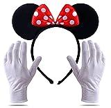 TK Gruppe Timo Klingler 2 in 1 - Minnie Mini Maus Ohren Kostüm Set mit Handschuhen und Mausohren für Damen an Fasching & Karneval (Set)