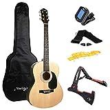Martin Smith Akustikgitarren-Set mit Akustikgitarre in voller Größe, Gitarrenständer, Gitarrentuner, Gitarrentasche, Gitarrengurt, Gitarrenplektren und Ersatzsaiten