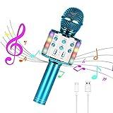 KEMOO Kabelloses Karaoke-Mikrofon, Bluetooth tanzende LED-Lichter, tragbarer Lautsprecher, Karaoke-Maschine, kompatibel mit Android- und iOS-Geräten, HeimkTV Outdoor Party (blau)