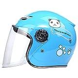 COOKTOP Kinder Motorradhelm, Motorrad Batterie Auto Helm Lightweight und Bequeme Vier Jahreszeiten Kinderhelme für Jungen Mädchen Baby Alter 3-6,Blau