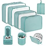 Newdora Packing Cubes, 8 Teilig Koffer Organizer, Kleidertaschen für Koffer Kleidung Kosmetik Schuhbeutel Kabel Aufbewahrungstasche, Kofferorganizer Reise Würfel für Urlaub, Flugreisen, Himmelb