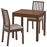 EKEDALEN/EKEDALEN Tisch und 2 Stühle, Braun, Ramna Hellgrau, 80/120 cm, strapazierfähig und pflegeleicht, Essgruppe bis zu 2 Sitzplätze, Esstisch und Schreibtische, Möbel, umw