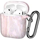 Henva AirPod Schutzhülle (Vorderseite LED sichtbar), stoßfest, kompatibel mit Apple AirPods 2 & 1 Wireless Charging Cases für Frauen, Männer, mit Schlüsselanhänger Marmor
