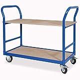 Tischwagen, blau, LxB 1140x500 mm Höhe 890 mm, Tragkraft 250 kg, 2 Böden