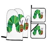 4Pcs Ofenhandschuhe und Topflappen Set,Die kleine Raupe Nimmersatt,Hitzebeständige Küchenhandschuhe zum Kochen,Backen,Grillen,Grillen