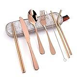 OUDEING Besteckset 6 Personen,21 stücke Edelstahlbesteck Set, mit Besteck, Löffel, Essstäbchen-Besteck Steak Messerkombination-Rose Gold 21pcs.