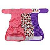 Alumuk 3er Pack Einstellbare und Waschbare Hundewindeln Hund Hygieneunterhose mit Magictape Hundeschutzhose für Hü