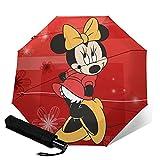 Minnie Cartoon Maus Automatik Drei-Faltbarer Regenschirm, leicht und tragbar für sonnige und regnerische Zwecke, Sonnenschutz und UV-beständig