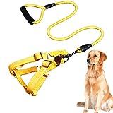 ZUOLUO Hundegeschirr Hunde Leine Hundegeschirr und Bleisätze Leine für große Hunde Hundegeschirr Kleiner Hund Katzengeschirr mit Blei Yellow,M