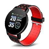 Yumanluo Smart Watch Fitness Uhr für Damen Herren,Zweifarbige Träger, intelligente Bewegung, Herzfrequenz-Armband-Rot,Smartwatch Wasserdicht Fitness Armband