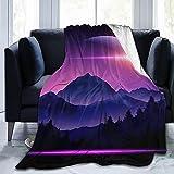 XZDPPTBLN 3D Drucken Decke Lila Berghimmel Kuscheldecke Flanell Fleecedecke Sofadecke Bettüberwurf Flauschige Weiche Warme Sofaüberwurf Decke für Büro, Kinder 130cm x 150cm