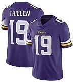 NMABY Thielen 19# Víkings Gedenkwürdige Fußballtrikots, Rugby Jersey Team Sportswear Fan Jersey Gestickte Edition Hemd Kurzarm purple1-S