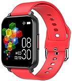 DHTOMC Smartwatch, 3,9 cm (1,55 Zoll) Farbbildschirm, Touchscreen, IP67, wasserdicht, Sport-Fitness-Tracker, Rot