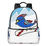 Rucksack Freizeit Damen Herren, Vogel Snowboard Rot Campus Kinderrucksack, Daypack Schulrucksack Sportrucksack Tablet Tasche 15,6 Zoll