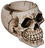 com-four® Schaurig gruseliger Aschenbecher in Form eines Totenkopfschädels für Verschiedene Anlässe (01 Stück - Schädel Natur)