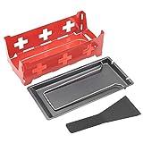 Kuuleyn Mini Raclette Set, tragbares Antihaft-Käse Raclette Rotaster Backblech Herd Küche Grillwerkzeug(hob + Baking pan + small Spatula-Stahlgriffset Rot)