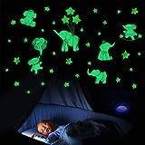 SWECOMZE Leuchtsticker Wandtattoo, Cartoon Tier Elefant Leuchtsterne selbstklebend Aufkleber, Leuchtaufkleber Leuchtsticker Babyzimmer Deko für Mädchen Jungen Geschenke