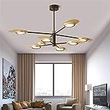 LIUYU Einstellbare LED Kronleuchter mit Lampenschirm for Wohnzimmer Metalldeckenleuchter Moderne Schlafzimmer Beleuchtung (Emitting Color : Warm, Size : Black White)