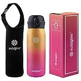 eulogize Thermos Bottle BPA Free Vacuum Trinkflasche aus Edelstahl mit Isolierung, 500 ml, Dunkelblau, doppelwandig, auslaufsicher, rot
