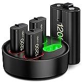 BEBONCOOL 4-Packs Akku für Xbox One/Series X&S Controller, 1200mAh Wiederaufladbare Akku mit LED-Anzeige, Akku Ladestation für Xbox Series X/S/Xbox One S/Xbox One X/Xbox One Elite/Xbox One Controller