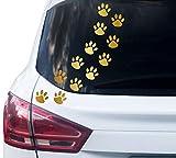 PrintAttack P001 | 12 Hundepfoten Aufkleber - Farbe wählbar (6cm x 6cm) (930 Gold Metallic)