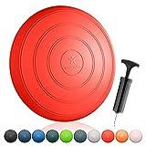 BODYMATE Ballsitzkissen Comfort inkl. Pumpe Pepper-RED 33cm Durchmesser - Balance-Kissen, Sitzballkissen, Luftkissen, Balance Pad - Core-, Fitness-, Reha-, Koordinations- und Rückentraining